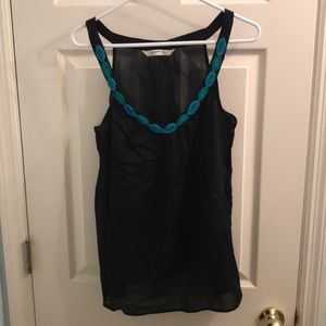 Black sheer top with bead trim, size large